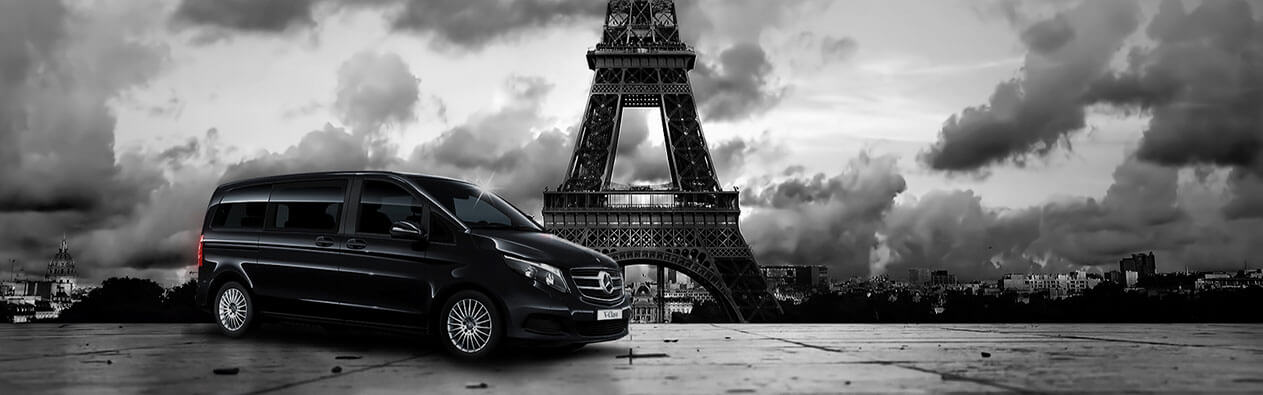 Mile5 Limited Hotel Transfer Services - Black Car with Eiffel Tower on Background